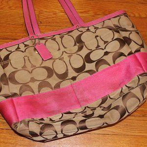 Classic Coach Khaki & Pink Diaper Bag